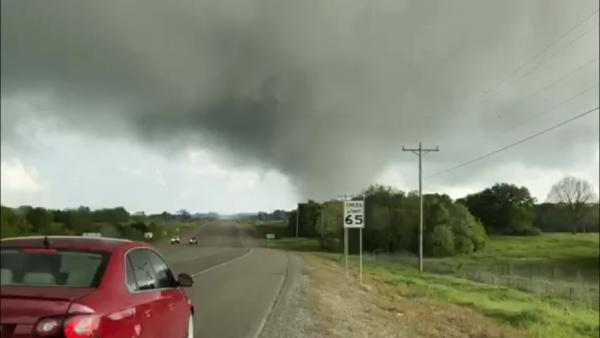 This image made from video provided by Thomas Marcum shows a tornado seen from State Highway 48 in Durant, Okla., on Wednesday.