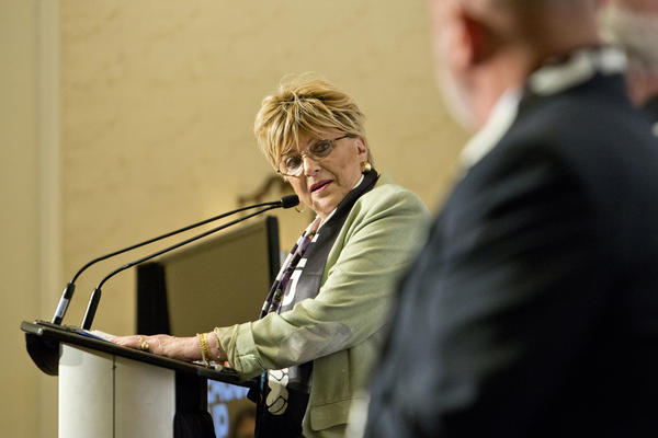Las Vegas Mayor Carolyn Goodman speaks during a press conference inside the Bellagio Hotel and Casino convention center in 2019.