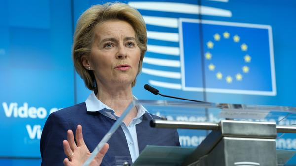 European Commission President Ursula Von Der Leyen speaks to reporters Thursday in Brussels after a video conference among EU officials about easing the impact of the coronavirus on the bloc's economies.