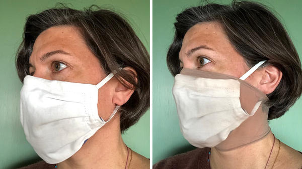 Researcher Loretta Fernandez of Northeastern University wears a homemade face mask without and with an extra outer layer made from nylon stockings (right). The added nylon outer layer significantly boosted masks' ability to filter out small particles, her research found.