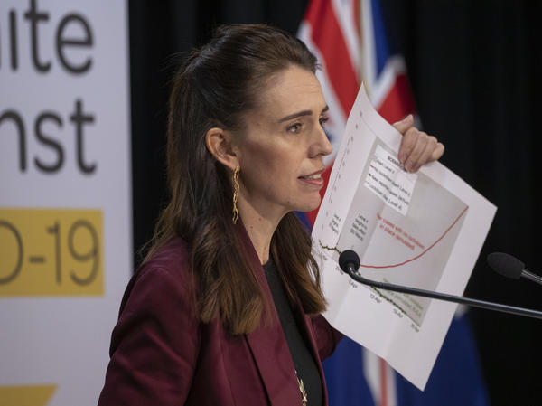 Prime Minister Jacinda Ardern speaks at a briefing on the coronavirus pandemic at Parliament on Monday in Wellington, New Zealand.