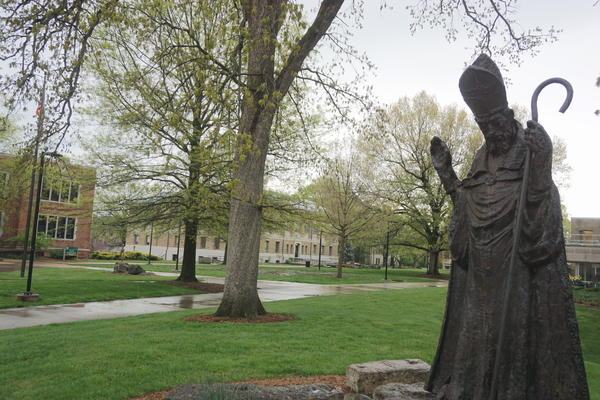 The statue of St. Patrick looks out over an empty Missouri S&T campus. The school plans to bring people back in phases culminating in in-person classes in the fall semester.