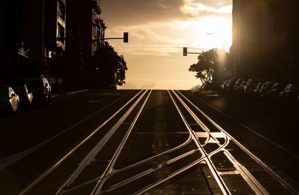 "San Francisco's California Street, usually filled with cable cars, is seen empty on March 18, 2020, after residents were ordered to shelter in place in an effort to help prevent the spread of the coronavirus. Author Lawrence Wright's new novel imagines a mysterious virus that sweeps the globe. ""All I'm doing is examining the world that we live in and extrapolating where it might go,"" he says."