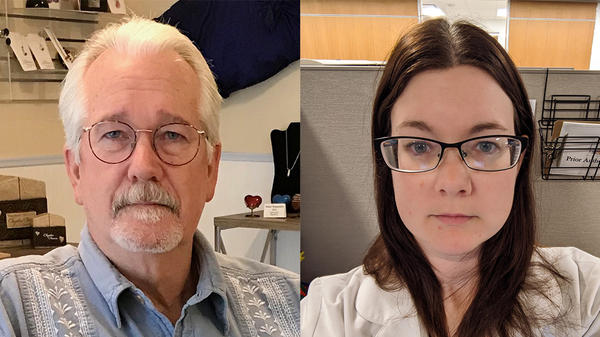 Shannon Doty (right) tells her father, Dan Flynn (left), in a remote StoryCorps conversation, that his dedication to help others inspired her goal to work in the medical field.