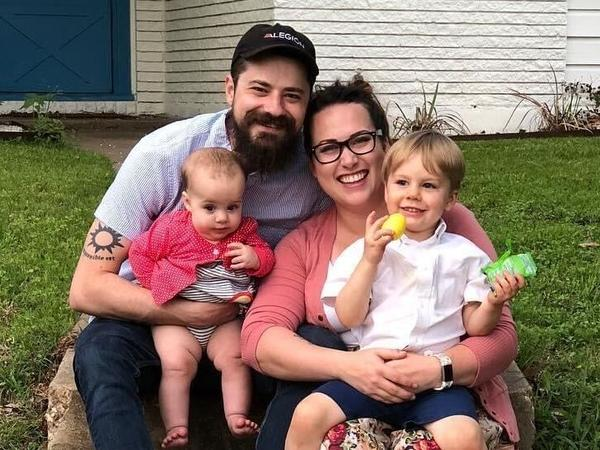 Dan and Amanda Munro, with their children, Adelaide and Charles. Dan Munro found out he lost his job via a Zoom call.