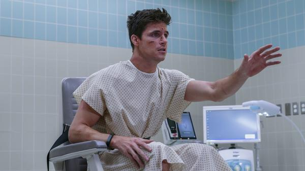 In the Amazon Prime series <em>Upload, </em>Nathan Brown (Robbie Amell) has died in a freak accident and his wealthy girlfriend has paid to have his memories and personality uploaded into a lookalike avatar.