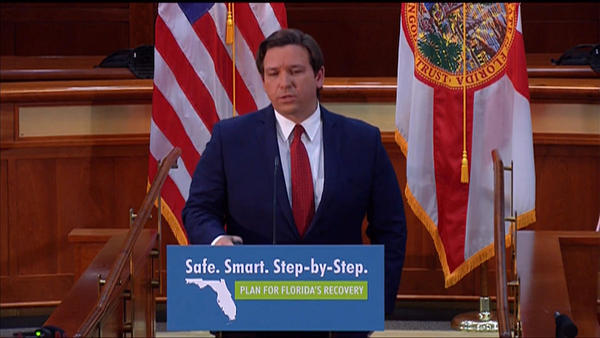 Gov. Ron DeSantis at his Wednesday, April 29, news conference in Tallahassee.