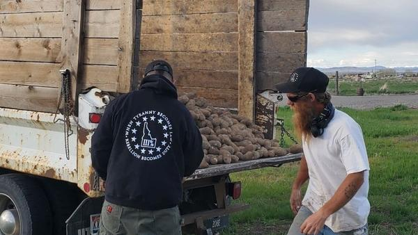 Members of the Real Idaho Three Percenters unload potatoes this week as part of a volunteer effort to give away crops that were unsold because of the coronavirus pandemic. Their activities raise questions about the role of militias in the pandemic response.
