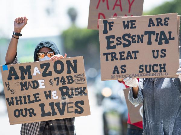 Protesters say Amazon and other companies are benefiting from surging demand during the pandemic, but not doing enough to protect essential workers.