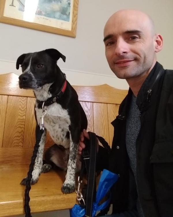 Josep Navas Masip, seen with his dog Ruquet, purchased a second home in Philadelphia and was renovating it for use as an Airbnb when the coronavirus crisis hit. Now his plans are canceled and he's unsure what to do for income.