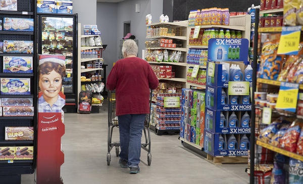 Jan Dunn shops at White's Foodliner in St. John in this photo from 2019.