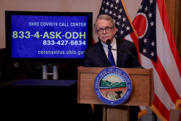 Ohio Gov. Mike DeWine speaks at his daily coronavirus press conference on April 8, 2020.