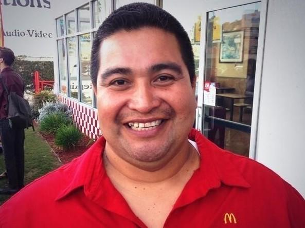 Bartolomé Perez of Los Angeles has cooked at McDonald's for 30 years. He helped stage a walkout at his restaurant in April after a coworker tested positive for COVID-19.