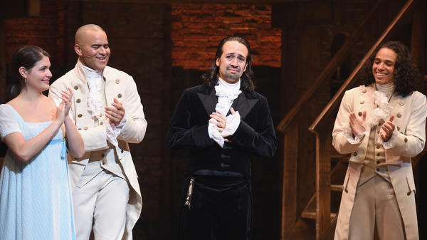 Phillipa Soo (from left), Christopher Jackson, Lin-Manuel Miranda and Anthony Ramos attend Miranda's final performance of <em>Hamilton</em> on Broadway, on July 9, 2016.