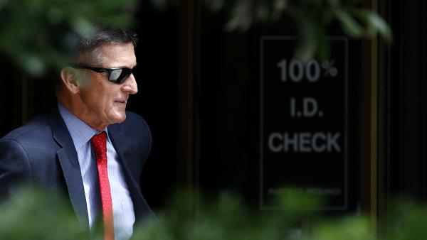 Michael Flynn, President Trump's former national security adviser, departs a federal courthouse after a hearing in June 2019.