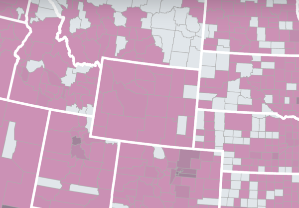A screenshot of an interactive USAFacts map. The counties in white have yet to have a confirmed COVID-19 case.