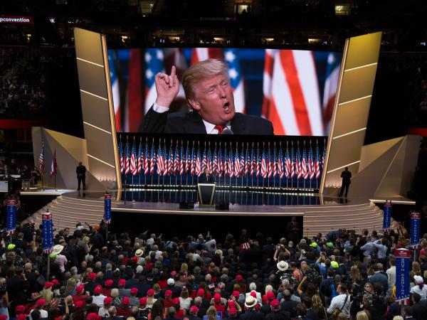 Donald Trump delivers the keynote address during the 2016 Republican National Convention. Despite the coronavirus, Republicans say they are moving ahead with plans for their 2020 convention.