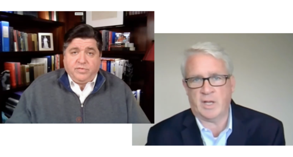 Governor J.B. Pritzker and House Minority Leader Jim Durkin speaking at separate Zoom press conferences on May 18