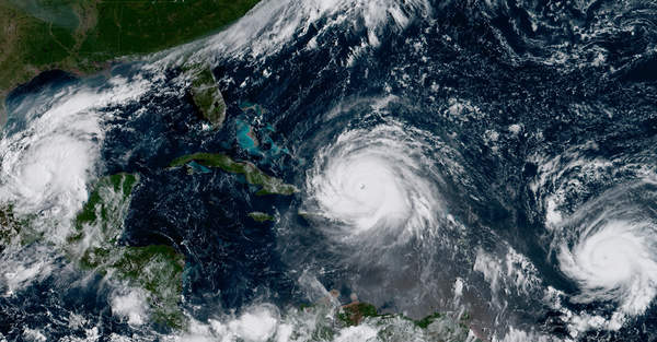 Three simultaneously active hurricanes in 2017: From left to right: Katia, Irma, and Jose