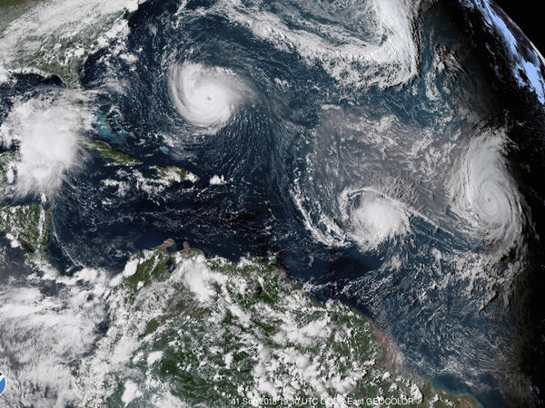 Three hurricanes form in the Atlantic in September 2018. Forecasters predict three to six major hurricanes during the 2020 season, which is above average.