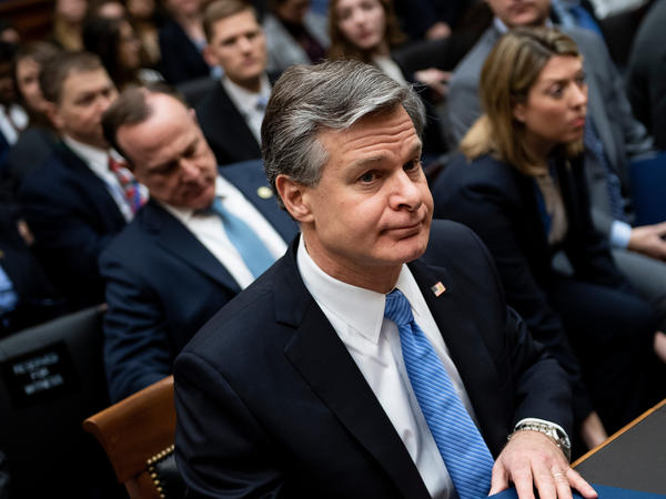 FBI Director Christopher Wray on Capitol Hill in February. Wray has launched a review into the bureau's investigation of Michael Flynn.