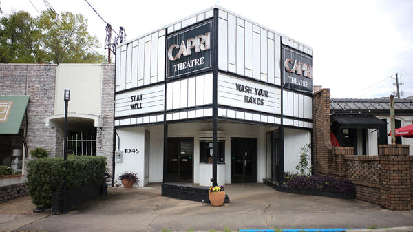 Montgomery's Capri Theatre, seen on March 22, was closed because of the coronavirus. Montgomery Mayor Steven Reed says the city health system's capacity to manage the crisis has hit unsustainable levels.