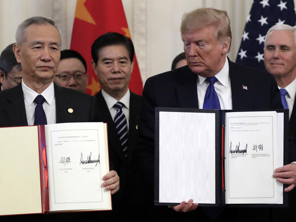 President Trump and Chinese Vice Premier Liu He signed a preliminary trade agreement at the White House on Jan. 15. Since then, tensions between the two countries have grown.