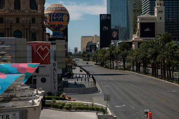 A car drives down an otherwise empty Las Vegas Strip amid the coronavirus pandemic on May 8.