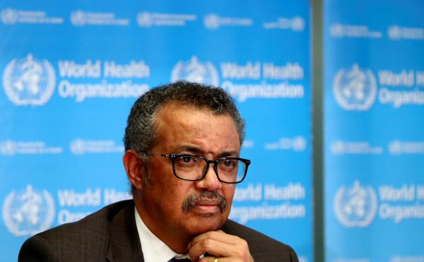 The World Health Organization's Tedros Adhanom Ghebreyesus, here at a press conference earlier this year, gave his reaction Monday to President Trump's declaration about funding the agency. Tedros said he learned of Trump's decision from the president's briefing.