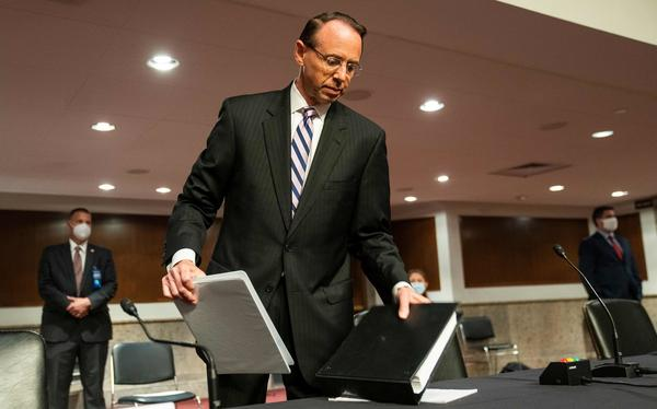 "Former Deputy Attorney General Rod Rosenstein arrives to testify before a Republican-led Senate Judiciary Committee hearing on ""Crossfire Hurricane,"" the FBI's probe into Russian election interference and the 2016 Trump campaign on Wednesday."