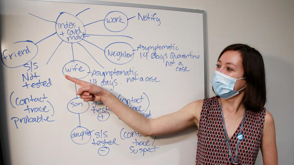 At the Salt Lake County Health Department, a woman teaches new contact tracers on May 19 how to identify potential new exposures after a person tests positive for the coronavirus.