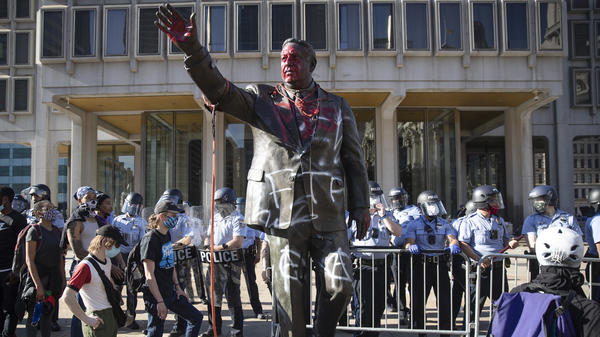 A statue of controversial former Philadelphia Mayor Frank Rizzo was vandalized during protests over the death of George Floyd in Minnesota. The city of Philadelphia took down the statue Wednesday.