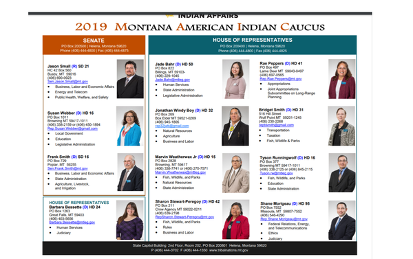 Members of the 2019 Montana American Indian Caucus