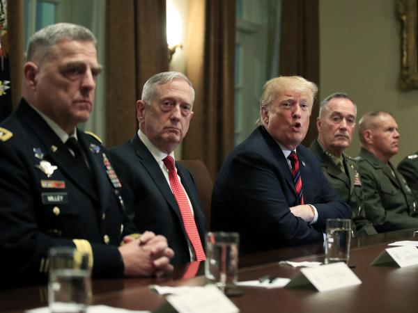 President Trump in October 2018 is joined by (from left) Army Chief of Staff Gen. Mark Milley, Defense Secretary Jim Mattis, Chairman of the Joint Chiefs of Staff Gen. Joe Dunford and Marine Corps Commandant Gen. Robert Neller.