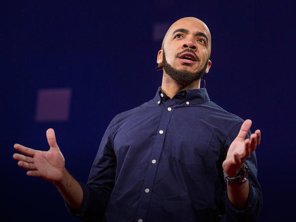 """Clint Smith delivers his talk, """"How To Raise A Black Son In America,"""" at TED2015 - Truth and Dare."""