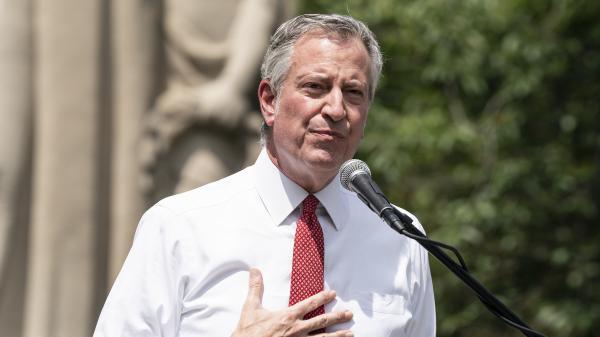 New York City Mayor Bill de Blasio speaks during memorial service for George Floyd on Cadman Plaza on Thursday. De Blasio said on Sunday that New York City would lift its curfew.
