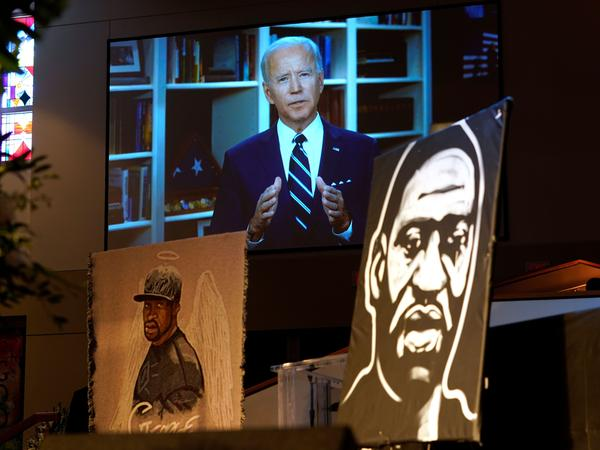 Democratic presumptive presidential nominee Joe Biden speaks via video at a funeral service for George Floyd in Houston on Monday.