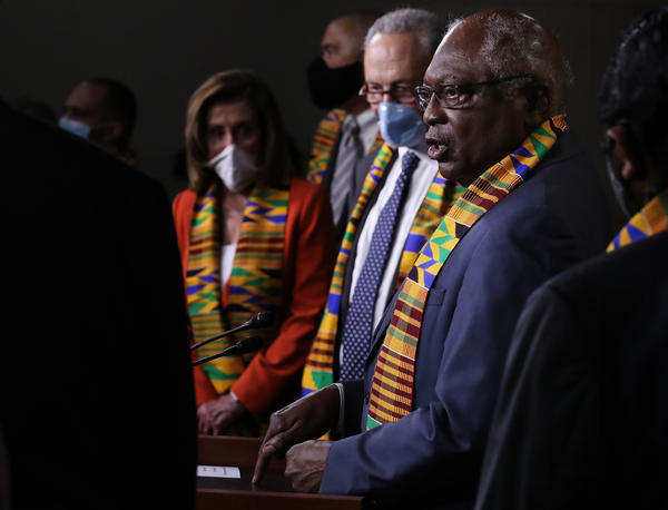 House Majority Whip James Clyburn (right) joins fellow Democrats from the House and Senate to propose new legislation to end excessive use of force by police.