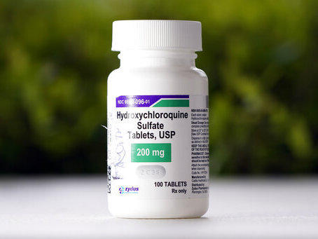 A bottle of hydroxychloroquine tablets in Texas City, Texas. The Food and Drug Administration has rescinded its emergency use authorization for the drug.