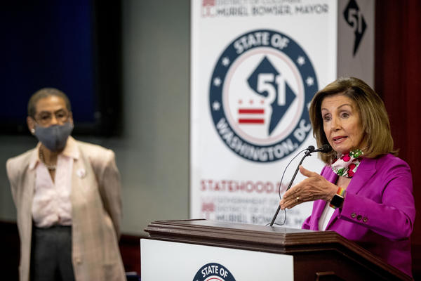 House Speaker Nancy Pelosi, accompanied by Delegate Eleanor Holmes Norton, D-D.C., speaks at a news conference on District of Columbia statehood on June 16.