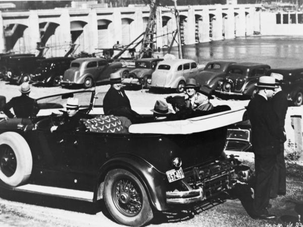 President Franklin Roosevelt at the dedication of the spillway at Bonneville Dam on the Columbia River in 1937.