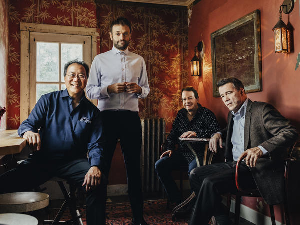 The musicians on <em>Not Our First Goat Rodeo</em>, from left to right: Yo-Yo Ma, Chris Thile, Stuart Duncan and Edgar Meyer.