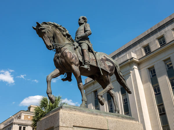 A statue of Confederate general and slave owner Wade Hampton III on horseback in the grounds of South Carolina State House.