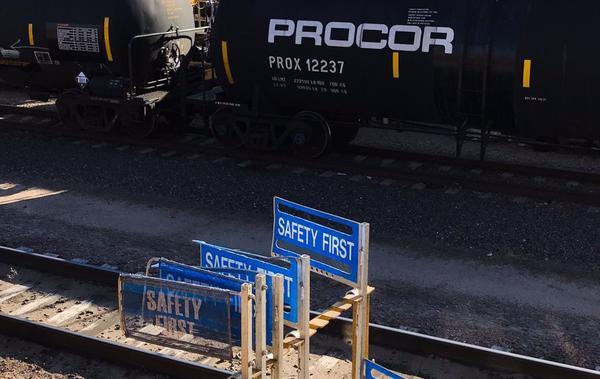 Photo taken at a train yard