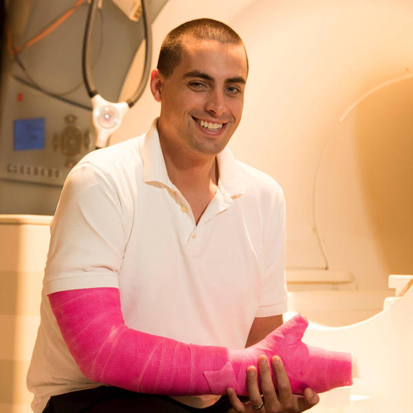 Dr. Nico Dosenbach decided to put his healthy arm in a cast to figure out more about how the brain deals with an immobilized limb.