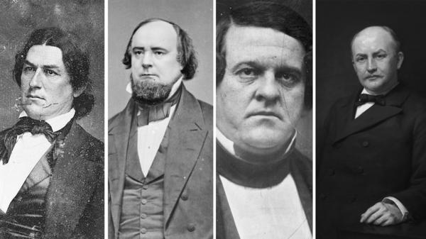 Left to right: Robert Hunter, James Orr, Howell Cobb and Charles Crisp. Portraits of the four Confederates and former House speakers will be removed from the U.S. Capitol on Friday.