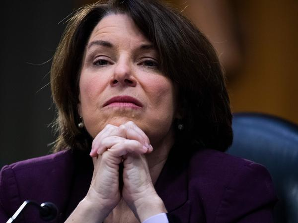 Sen. Amy Klobuchar, D-Minn., attends a Senate Judiciary Committee hearing on police use of force earlier this week.