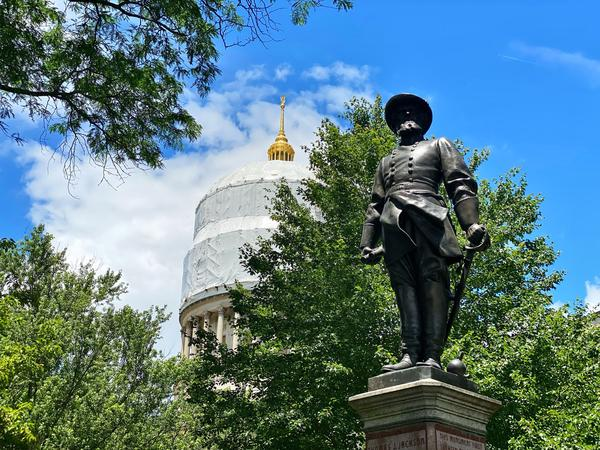 A statue of Confederate Gen. Stonewall Jackson stands tall on the grounds of the West Virginia Capitol building in Charleston.