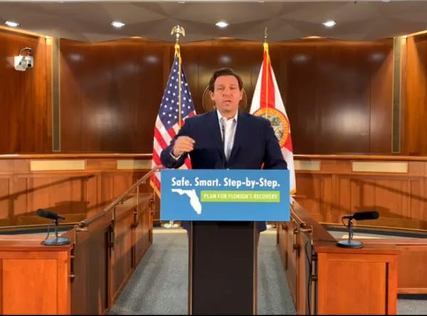Florida Gov. Ron DeSantis speaks at a press conference in Tallahassee Saturday, June 20.