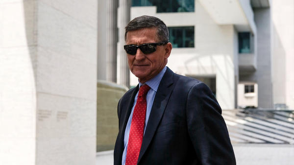 Michael Flynn, President Trump's former national security adviser, leaves the E. Barrett Prettyman U.S. Courthouse in June 2019 in Washington, D.C. An appeals court has ordered a judge to drop the case against him, as the Justice Department has requested.